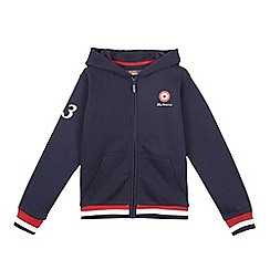 Ben Sherman - Boys' navy logo print zip through hoodie