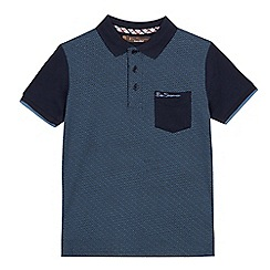 Ben Sherman - Boys' navy geometric print polo shirt