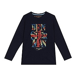 Ben Sherman - Boys' navy 'Union Jack' logo print t-shirt