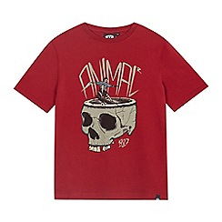 Animal - Boys' maroon 'Tobiah Boarder Skull' print t-shirt