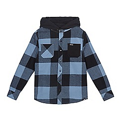 Animal - Boys' blue 'Lando' check fleece lined hooded shirt jacket