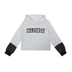 Converse - Girls' grey logo hooded sweater