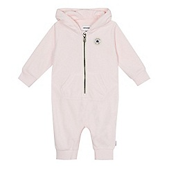 Converse - Baby girls' pink velour logo applique all in one