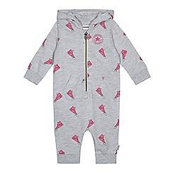 Converse - Baby girls' grey sneaker print romper suit