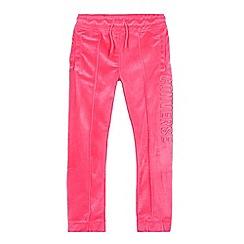 Converse - Girls' pink velour logo applique jogging bottoms
