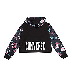 Converse - Girls' black logo print cropped hoodie