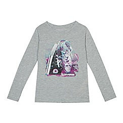 Converse - Girls' grey trainers print top