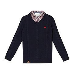 J by Jasper Conran - Boys' navy cable knit mock shirt jumper