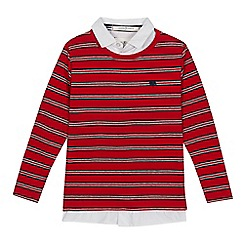 J by Jasper Conran - Boys' red stripe mock jumper