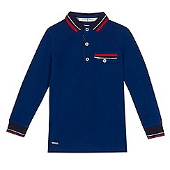 J by Jasper Conran - Boys' blue tipped long sleeve polo shirt
