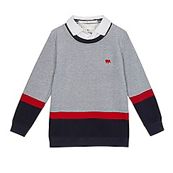 J by Jasper Conran - Boys' grey pique mock jumper