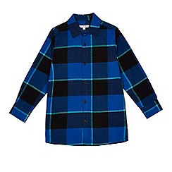 bluezoo - Boys' navy checked longline shirt