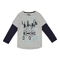 bluezoo - Boys' grey London city scene print mock top