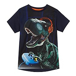 bluezoo - Boys' navy gaming dinosaur print t-shirt