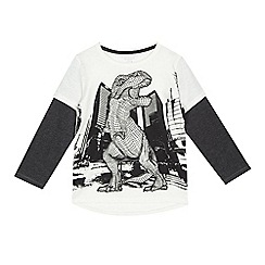 bluezoo - Boys' white dinosaur print mock sleeve t-shirt