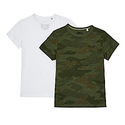 bluezoo - Pack of two boys' camo print and white t-shirts