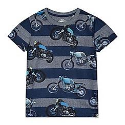 bluezoo - Boys' navy striped motorbike print t-shirt