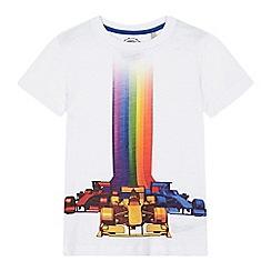 bluezoo - 'Boys' white racing car print t-shirt