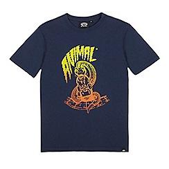 Animal - Boys' navy skateboarding snake logo print t-shirt