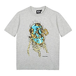 Animal - Boys' grey skeleton deep sea diver print t-shirt