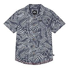 Animal - Boys' blue leaf print shirt