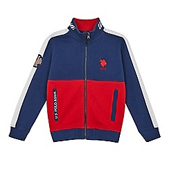U.S. Polo Assn. - Boys' navy and red colour block long sleeve sweatshirt