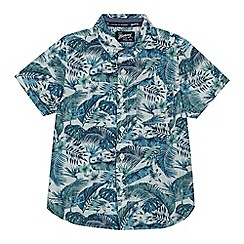 Mantaray - Boys' blue and green palm leaf print shirt