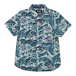 Mantaray - Boys' blue and green palm leaf print shirt