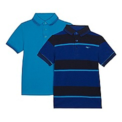 bluezoo - Pack of two boys' blue plain and striped polo shirts