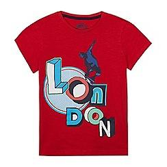 bluezoo - Boys' red 'London' print t-shirt
