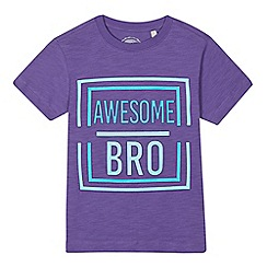 bluezoo - Boys' purple 'Awesome bro' embossed t-shirt