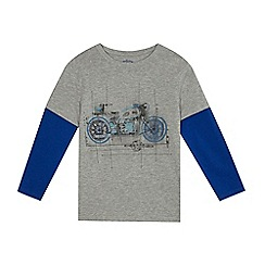 bluezoo - Boys' grey motorbike print mock top