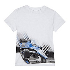 bluezoo - Boys' white race car print t-shirt