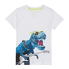 bluezoo - 'Boys' white dinosaur print t-shirt