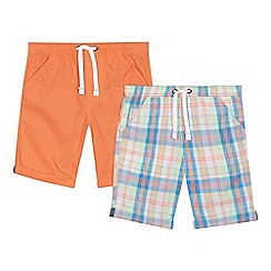 bluezoo - 'Set of 2 boys' assorted plain and checked shorts
