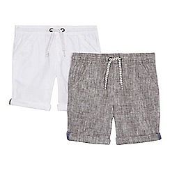 bluezoo - 'Pack of 2 boys' white and navy linen blend shorts