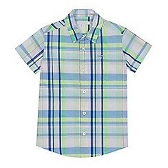 bluezoo - 'Boys' lime green check print short sleeve shirt