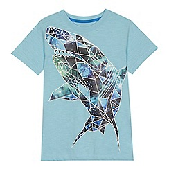 bluezoo - 'Boys' pale blue geometric shark print t-shirt