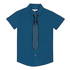 bluezoo - Boys' turquoise short sleeve shirt and tie set