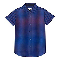 bluezoo - 'Boys' purple check print short sleeve shirt
