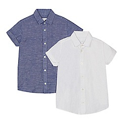 bluezoo - '2 pack boys' white and navy linen blend shirts