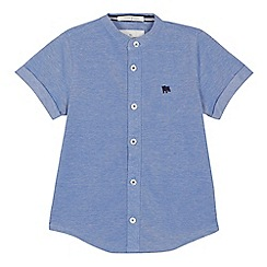 J by Jasper Conran - 'Boys' blue grandad neck short sleeve shirt