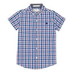 J by Jasper Conran - 'Boys' pink gingham check short sleeve shirt