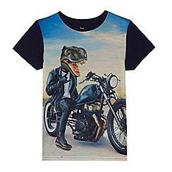 bluezoo - Boys' multi-coloured dinosaur motorbike print t-shirt