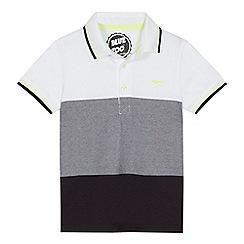 bluezoo - 'Boys' white and black block striped polo shirt