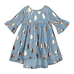 Angel and Rocket - 'Girls' blue foil print chambray dress