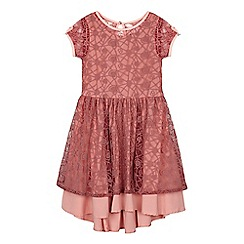 Angel and Rocket - Girls' pink heart lace dress