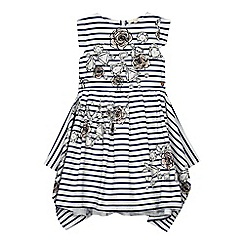 Angel and Rocket - Girls' striped diamond print hanky hem dress