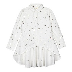 Angel and Rocket - Girls' white printed dipped hem shirt