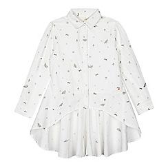 Angel and Rocket - Girls' white printed dipped hem shirt